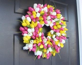 SPRING WREATH SALE Silk Thin Spring Tulip Wreath, Storm Door Wreaths, Front Door Outdoor Wreath,  Front Door Spring Decor Sizes 14-24 inch