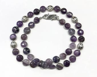 Amethyst Stone Necklace with Celtic Knot Beads