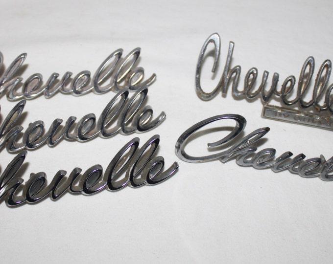 Five (5)  Vintage 1969-70s Chevrolet Chevelle Car Badges, Emblems, Original