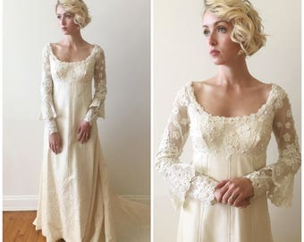 Vintage 1960s Priscilla Boston Silk Taffeta Wedding Gown with long sleeves and french lace details