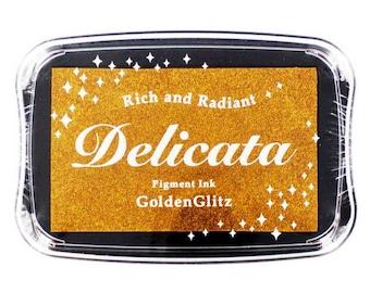 Delicata Golden Glitz Pigment Ink Pad Rubber Stamping Supplies & Paper Crafts