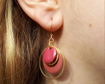 Earrings old pink and gold matte