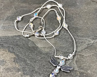 "16"", Vintage Sterling silver handmade necklace, linen thread with Swarovski beads and dragonfly pendant, stamped 925"