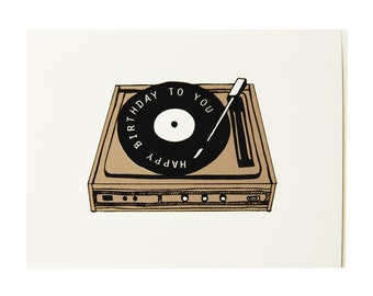 Birthday Card - Record Player