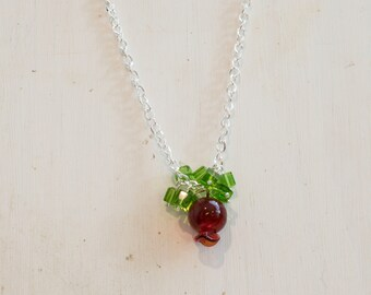Christmas Inspired Glass Necklace - Large Red Glass Ornament with Green Glass Beads on a Silver Chain