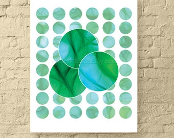 1 Inch Round Collage Sheets * 1 Inch Printable Circles Digital Downloads * Silky Turquoise & Green Abstract Art for Jewelry and Crafts