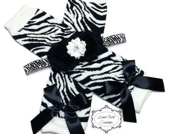Zebra Print Leggings, Infant Leg Warmer, Baby Leggings, Black Zebra Leg Warmer and Headband Set, Baby Headband, Black & White Leg Warmers