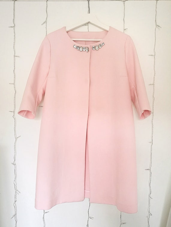 PINK FORMAL COAT, blush pink bridal cover up, pastel pink duster jacket, pale pink 1960s duster coat
