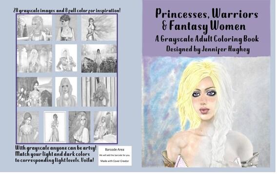 Digital Download Grayscale Coloring Book Fantasy
