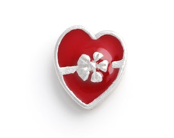 Red Heart Floating Charms for Living Lockets, Glass Memory Lockets