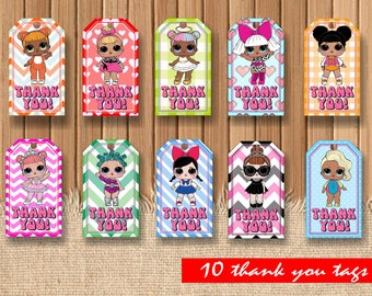 Digital LOL dolls thank you tags| printable Lol doll birthday|  Lol doll decor| Lol doll decor| Lol dolls children party| Lol surprise