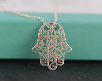 Hamsa Hand necklace. Fatima Hand necklace. Sterling Silver Hamsa/Fatima necklace. Meaningful jewelry. Thoughtful gift