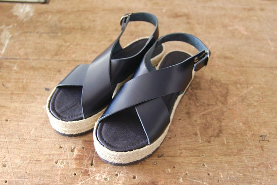 sandals sandals BLACK ESPADRILLES wedge flatforms LEATHER sandals espadrille UYRwqXz