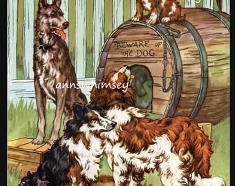 """Dog Art, Dog Art Print, Child's Room Art, Kitchen Art, Family Room Art, Nursery Art """"Beware of Dog""""   #497"""