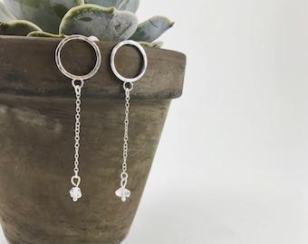 Hammered Ring Herkimer Drop Earrings