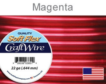 22 Gauge Magenta Soft Flex Wire,  Round, Non-Tarnish,  Supplies, Findings