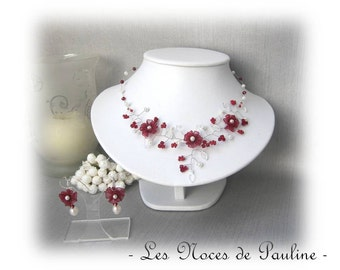 Burgundy and ivory wedding set Daisy collection ' twist ' 3 p