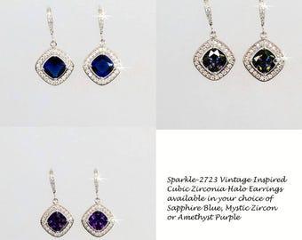 Your Colour Choice -- Colour Square Radiant Cut Cubic Zirconia CZ Halo Bridal Dangle Earrings, Bridal, Wedding (Sparkle-2723)