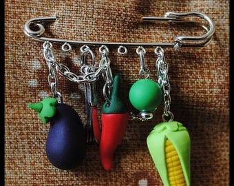 Vegetables in polymer clay brooch