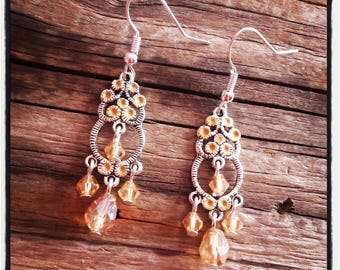 Earrings silver and salmon glass beads