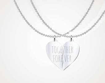 Split heart necklace etsy two part necklace broken heart pendant split heart necklace solid silver sterling 925 aloadofball Gallery