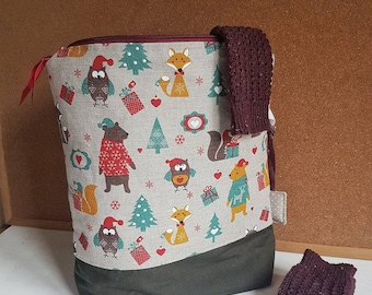 Large knitting project bag/crochet bag/ yarn bag/ gift for knitter/ gift for mother