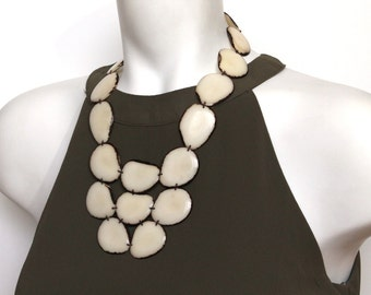 Mom gift, Mothers day necklace, Statement necklace, Tagua nut jewelry, Bib necklace, Chunky necklace, Fair trade jewelry, Vegan jewelry