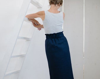 Linen skirt Pencil skirt Women's skirt Womens skirt Elastic waist Blue skirt Dark blue skirt Blue linen skirt Office skirt Fitted skirt