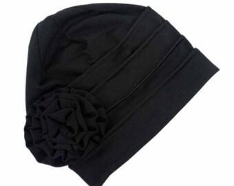 Black Fashion Stretch Hat Turban, Black with Rose Head Cover, Women Beanie Cap