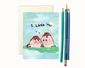 Anniversary card, anniversary card for boyfriend, funny anniversary card for husband, funny love card, cute love card, i lava you, lava card