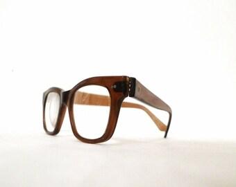 Vintage 60s Eyeglass Frame in Amber Ale, Brown Wayfarers. USA Eyeglass Frames.