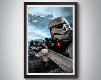 Stormtrooper Inspired Art Poster Print, Star Wars Poster