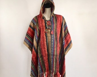 Heavy 100% brushed cotton hooded Poncho - Made In Nepal