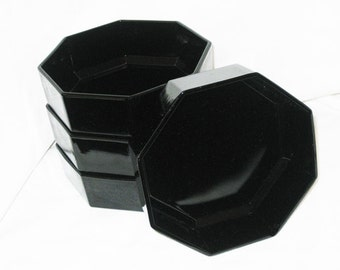 Black Octagon Shaped Bowls Made In France (4)