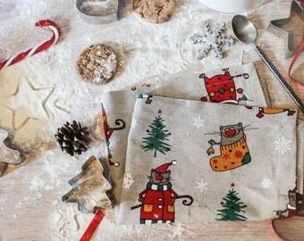 Christmas ornament napkins, cat napkins, linen napkins 12 14 16 18 20, kitchen napkins, linen cloth napkins, cat tablecloth, animal linen