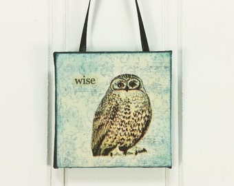 Wise Owl Little Bird Ornament, Whimsical Woodland Owl Wild Bird Miniature Art