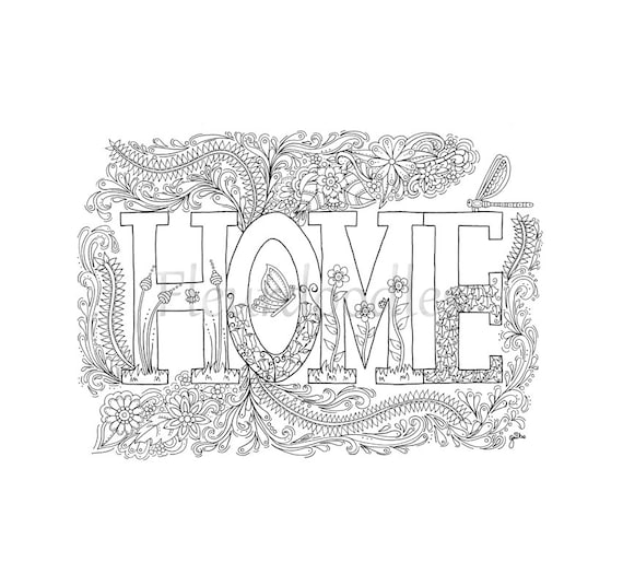 items similar to coloring page sweet home instant download unique hand drawn artwork. Black Bedroom Furniture Sets. Home Design Ideas