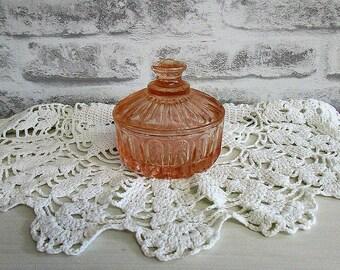 Pink Glass Trinket Pot