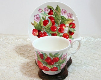 Royal Winchester English Bone China Teacup And Saucer With Cherries Design