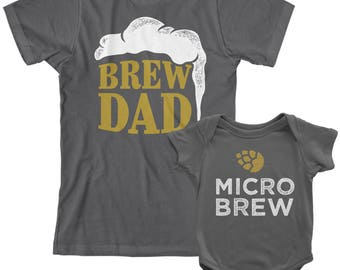 Brew Dad & Micro Brew Men's T-shirt and Infant Bodysuit Dad and Baby Matching Set