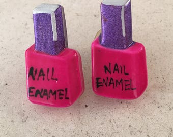 Whimsical Vintage Lucite Nail Polish Bottles with Hot Pink Polish Post Earrings.