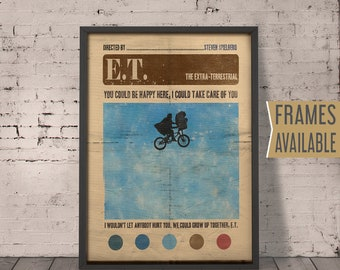 E.T.  The Extra-Terrestrial Movie Poster ***Frames Available*** ET Alternative Film Poster, Classic Film Quote Poster ,Retro Wall Art Print
