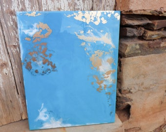 Blue, White and Gold Resin Artwork on Artists Board, Wall Art