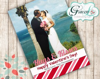 Valentine Photo Card, Hugs & Kisses Valentine Card, Happy Valentines Day, Special Valentine Card, Holiday Card, Photo Card, Valentines Day