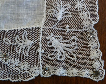 Vintage White Handkerchief Wtih Lace Border and Rhinestone Accents