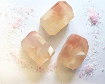 Lychee rose fairy crystal soap - natural glycerin soap, gem soap, gemstone soap, floral soap, fruir scent, exotic scent, vegan