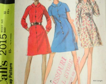 Vintage 60's Sewing Pattern, McCall's 2015, Dress or Mini Dress, Size 10, 32 1/2 Bust, Retro Mod 1960's Fashion