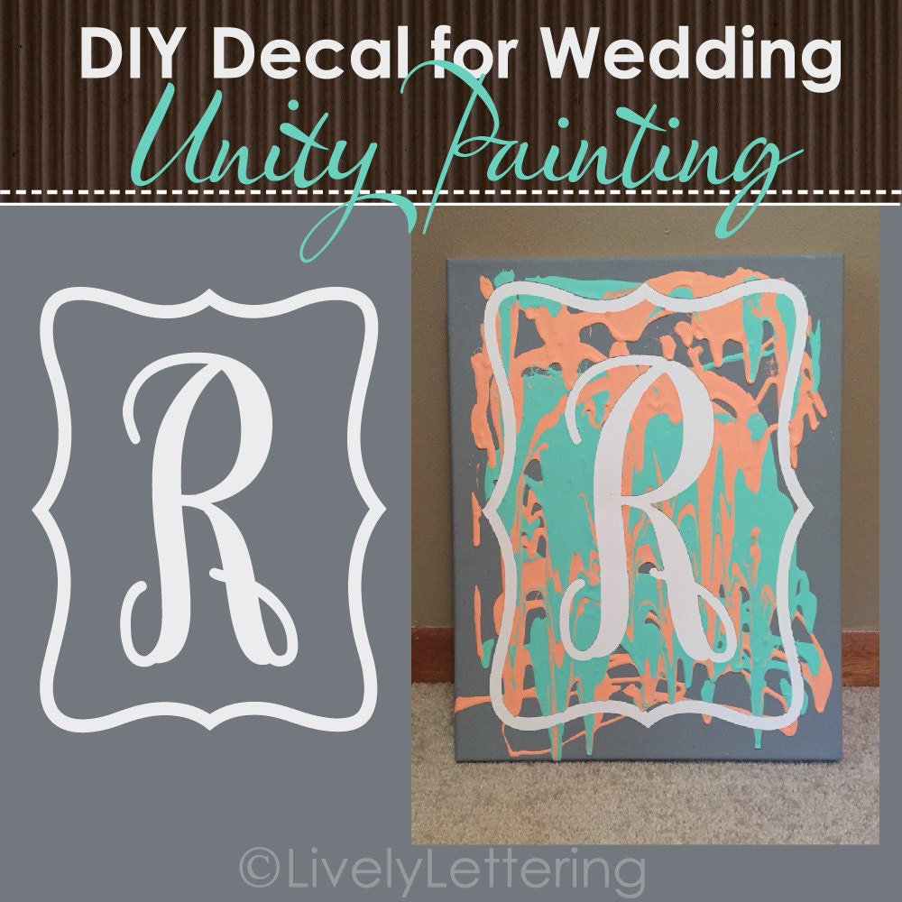 DIY Wedding Unity Painting DECAL ONLY Vinyl For Canvas