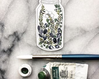 STICKER of Terrarium of Leafy Green FLOWERS 1.5 x 3 Inches  // Vinyl Art Watercolor Garden Leaves Indoor Plant Paynes Gray Flora