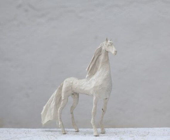 Paper mache horse horse figurine easter gift horse white like this item negle Images